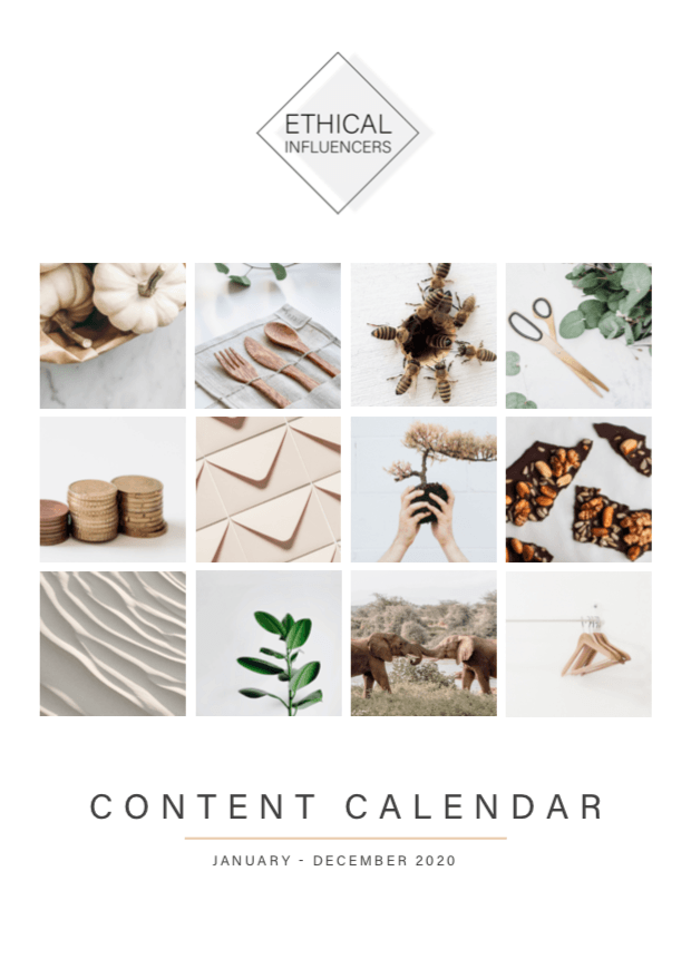 Ethical Influencers Content Calendar 2020 | Ethical Influencers