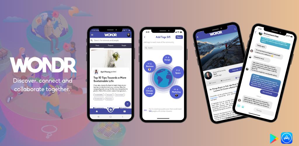 WONDR Screenshots on phone