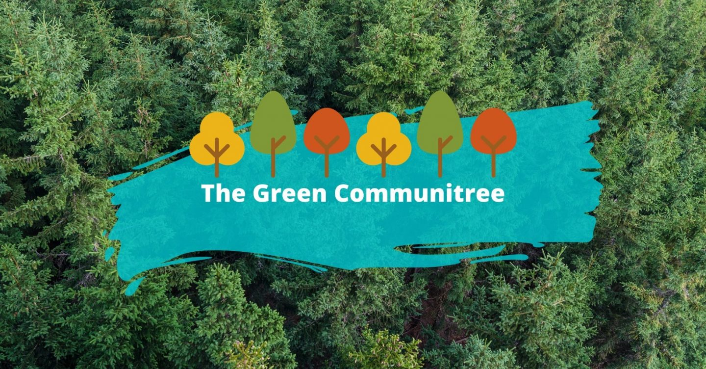Forest and banner with the words 'The Green Communitree'