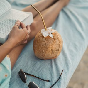 Coconut with metal straw