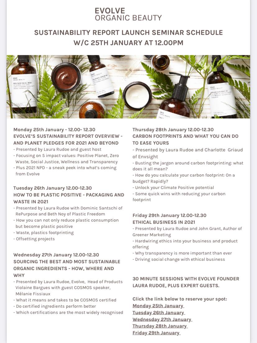 Evolve Organic Beauty - Webinar Schedule