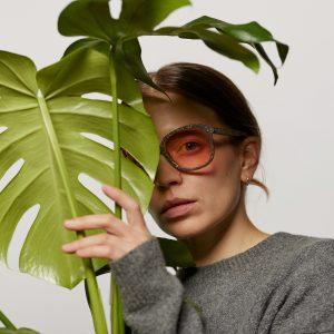 Woman wearing Hemp Eyewear glasses