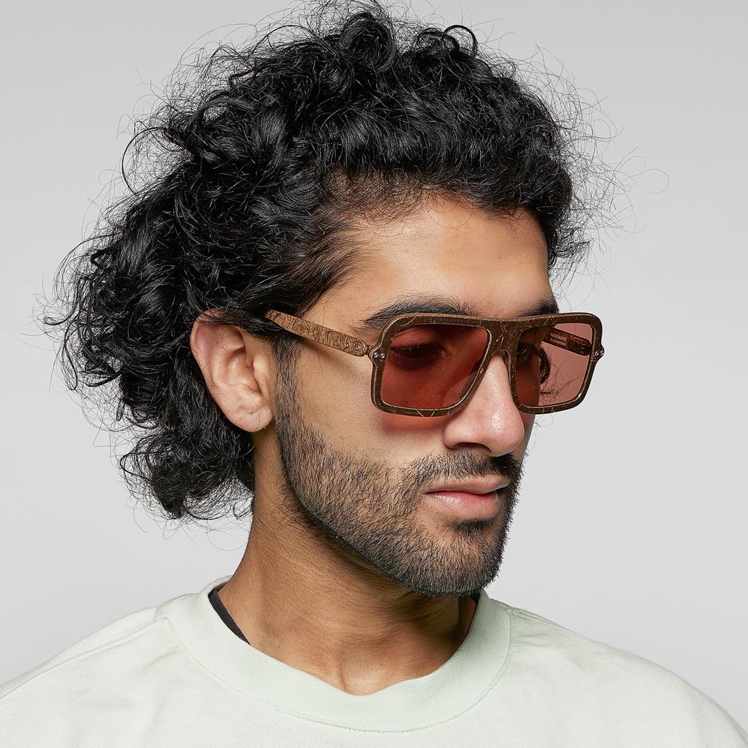 Man wearing Hemp Eyewear glasses