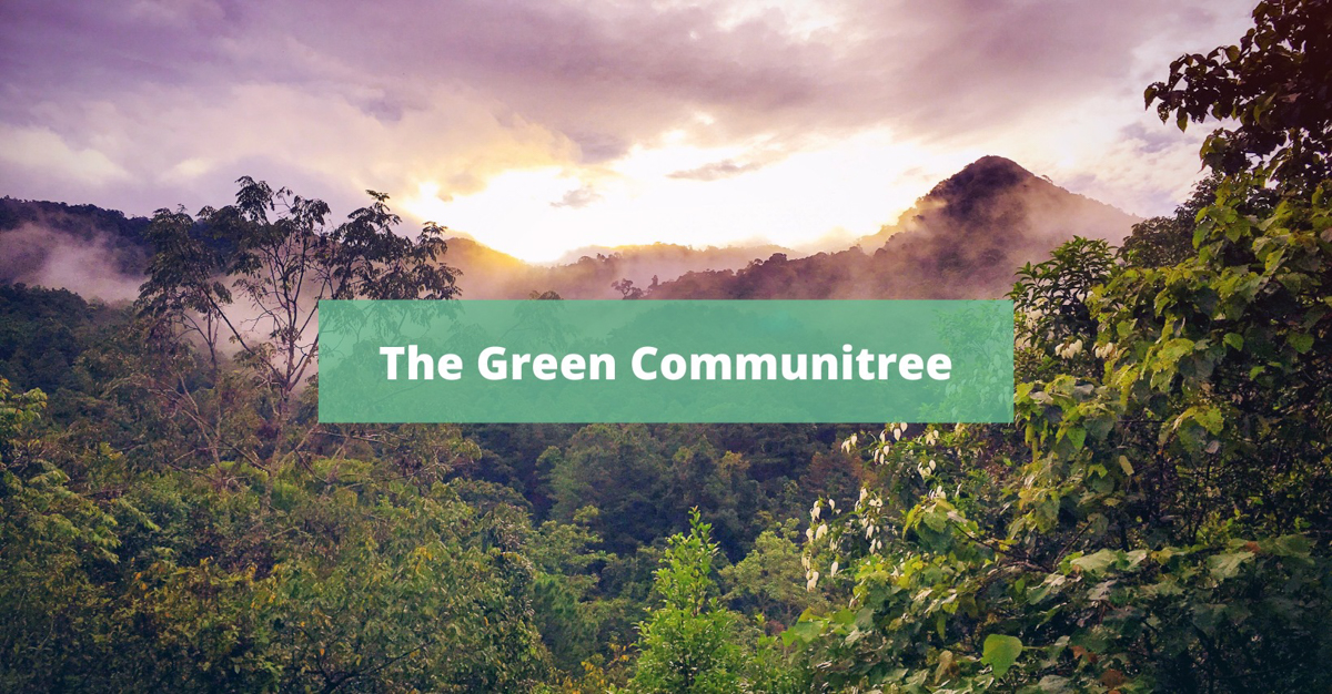 "Rainforest with the words ""The Green Communitree"""