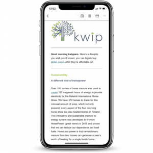 kwip newsletter shown on a smartphone