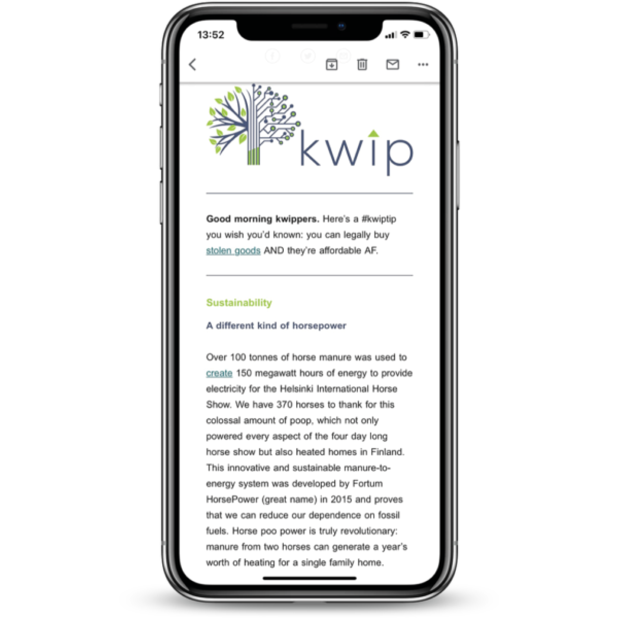 kwip newsletter shown on a smartphone