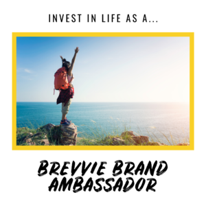 Person stands on cliff edge. Text on image: Invest In Life As A Brevvie Brand Ambassador